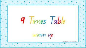 9 Times Table Warm Up ACARA C2C Common Core aligned PowerPoint