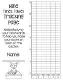 9 Times Tables Multiplication Fluency- 6 Quizzes with Self-Monitoring Graph