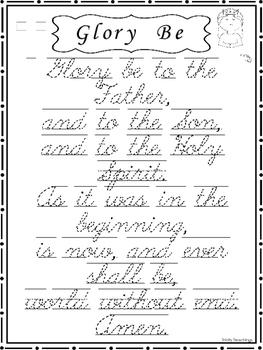 9 Trace the Prayers, Glory Be, Hail Mary, Lord's Prayer. Cursive, D'Nealian, Pri