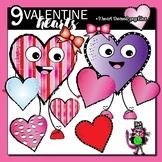 9 Valentine Heart Clips - clip art for teachers
