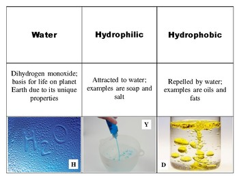 9 Vocabulary Properties of Water for Chemistry