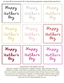 9 Warm Colors Happy Mother's Day Captions Fabric Font Printable Sheet