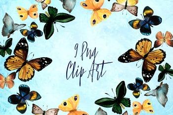9 Watercolor Butterflies Clip Art
