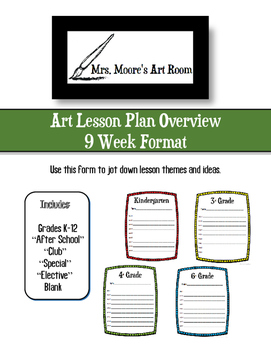 Art Lesson Plan Overview - 9 Week Format