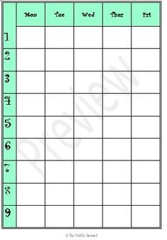 lesson plan calendar template