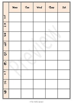 9 Week Lesson Plan Calendar - 4 colors - Use With Happy Planner or Disc Planner