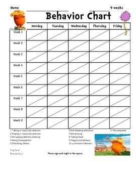 9 Weeks Behavior Chart