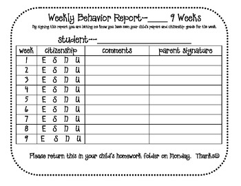 9 Weeks Weekly Behavior Report