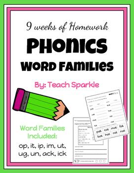 9 Weeks of Phonics Word Families Homework (Version 2)