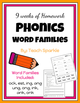 9 Weeks of Phonics Word Families Homework (Version 3)