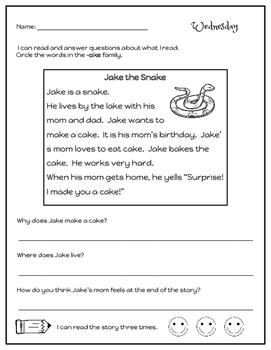 9 Weeks of Phonics Word Families Homework (Version 4)