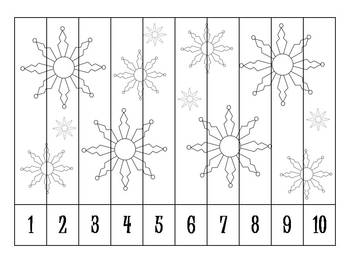 9 Winter Number Order Puzzles B&W {FREEBIE}