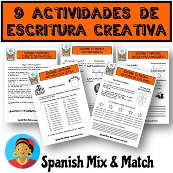 9 Actividades/Fichas de escritura creativa para la clase de español