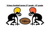 9 easy football terms 2nd - 6th grade