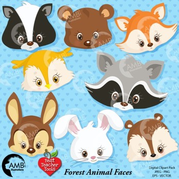 Animal Clipart, Faces, Forest Animal Cliparts {Best Teacher Tools} AMB-276