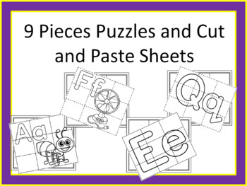 9 pieces Puzzle and Cut and Paste Sheets