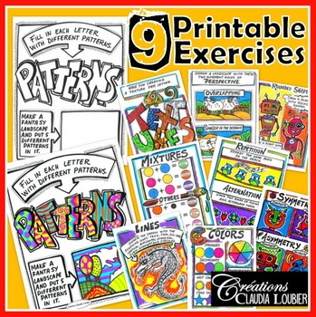 Elements of Art : 9 Printable Exercises - For Visual Art.