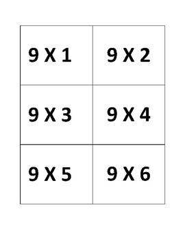 9's Multiplication Flashcards