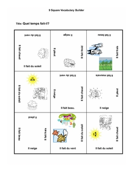 9 square- French Terms