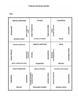 9 square activity- Art