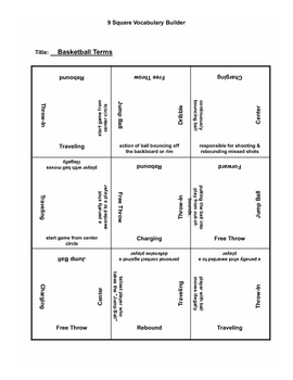 9 square activity- Basketball terms 1