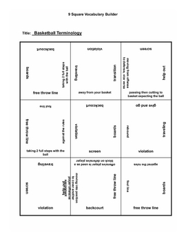 9 square activity- Basketball terms 4