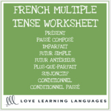 French Verbs - Multiple Tenses - Worksheet or Quiz
