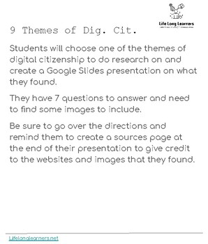 9 themes of Digital Citizenship: Research and Slides Presentation project