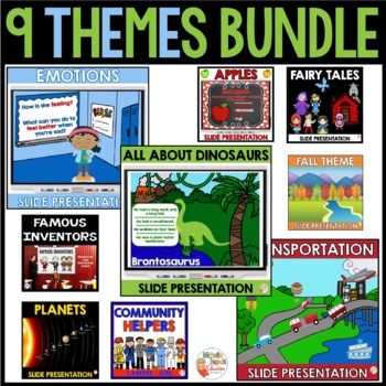 9 themes - slide presentations (Apples - Planets -  Dinosa