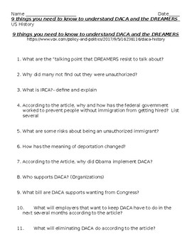 9 things you need to know to understand DACA and the DREAMERS  - Guided Reading