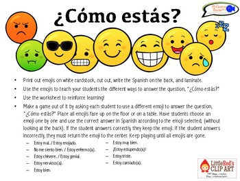 9 ways to answer the question, ¿Cómo estás? (Game & Worksheet)