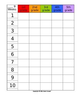 9 week planning grid 5 grades/columns - editable