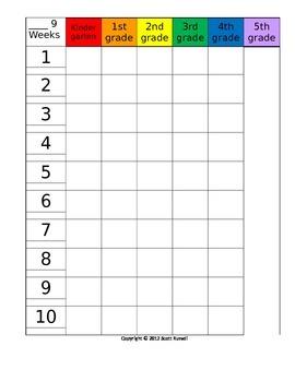 9 week planning grid 6 grades/columns - editable