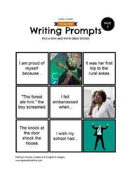 90 African Centered Writing Prompts Grades 6-8, (Fiction, Non-Fiction, Poetry)