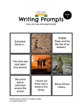 90 African Centered Writing Prompts Grades 9-12, (Fiction, Non-Fiction, Poetry)