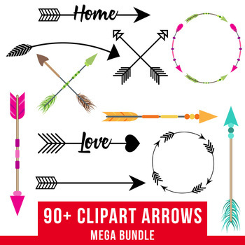 90 Arrows Clipart Mega Bundle Tribal Arrow Rustic SVGs