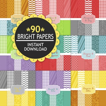 90 Bright Digital Papers for Teacher Supplies