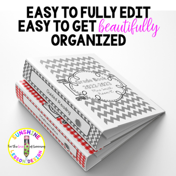 90 Classy and Sophisticated Editable Binder Covers and Spine Labels-10 Colors!
