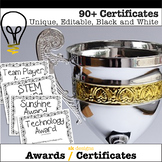 End of Year Editable Certificates Print 90+ editable bw Creative & Trad Awards