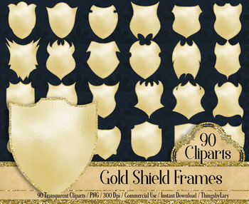 90 Gold and Glitter Shield Frame Clip Arts