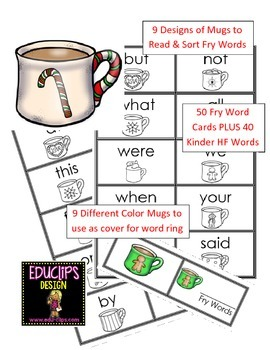 90 Kinder High Frequency Words for Word Rings - Flashcards, Read and Sort