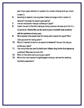 90 Minute Secondary Sub Plans & Personal Development Lesson - Goal Setting
