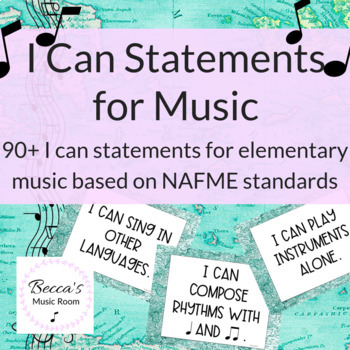 90 Music I Can Statements based on NAFME Standards | World Map/Travel Theme