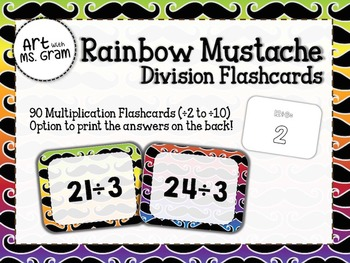 90 Rainbow Mustache Division Flashcards (÷2 to ÷10)