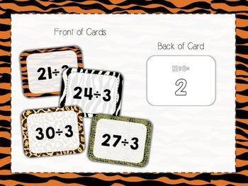 90 Safari Animal Print Division Flashcards (÷2 to ÷10)