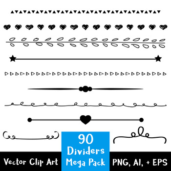 90 Simple Dividers Mega Pack, Flourish Clipart, Border Clip Art, Decorative