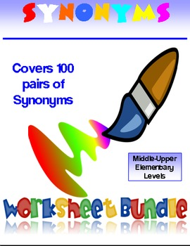 90 Synonyms Worksheets Activities and Puzzles Bundle