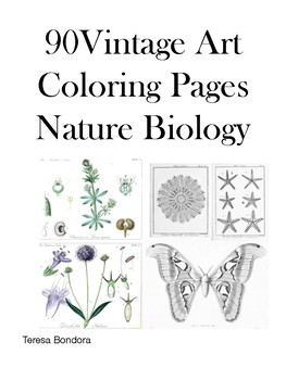 90 Vintage Sketches On Nature & Biology To Color