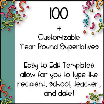 Awards~ 100+ Year Round EDITABLE Superlatives!