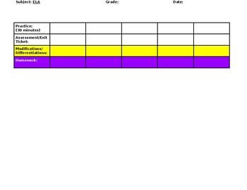90 minute ELA block Lesson Plan Template